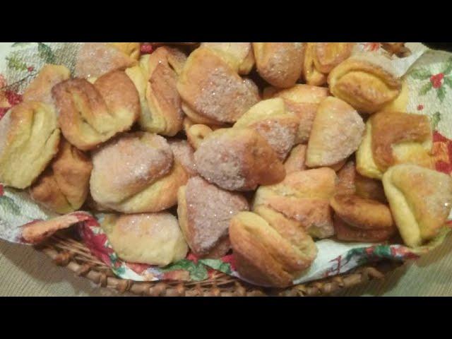 Вкуснющее печенье  «Поцелуйчики» из творожного теста.