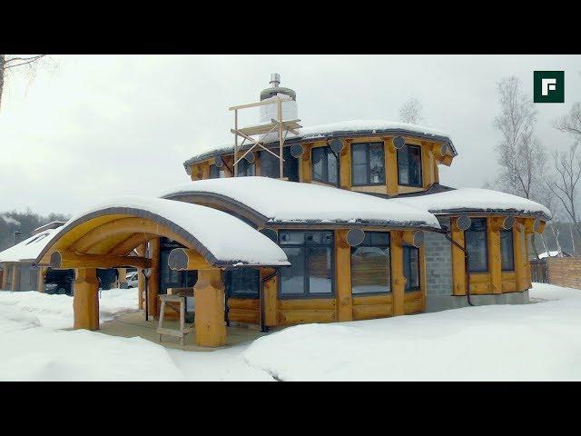 Разноуровневый дом с эркерами по технологии бревенчатого каркаса // FORUMHOUSE